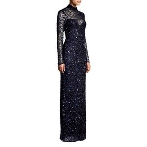 NWT SOLDOUT Sequin Long Sleeve Parker Leandra Gown